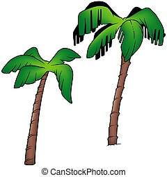 Palms 3 - two colored cartoon illustration