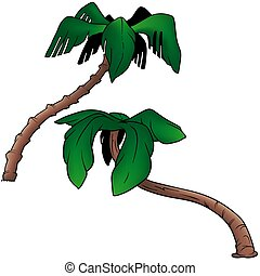 Palms 4 - two colored cartoon illustration
