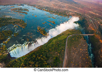 Victoria Falls from the Air - Victoria Falls from the air in...