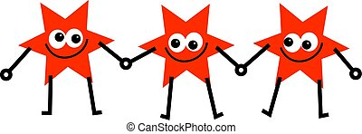 star reds - three star team of red cartoon stars holding...