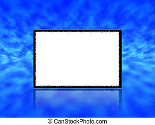 Empty photo frame with reflection against a blue sky and water