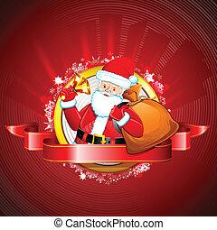 Santa with Jingle Bell - illustration of Santa Claus ringing...