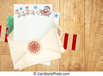 Letter to Santa Claus - Christmas background with letter to...