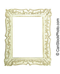 Old antique white wooden picture frame with empty place for...