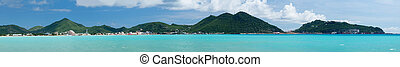 Panorama of Philipsburg Sint Maarten - Panorama of town of...