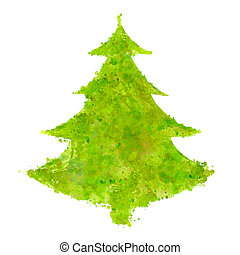 christmas tree with splash texture - abstract christmas tree...