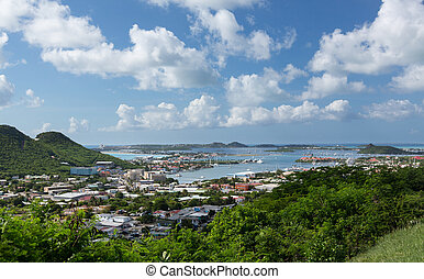 View over Simpson Bay Lagoon St Martin - SINT MAARTEN -...