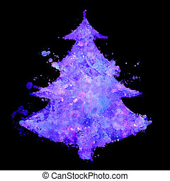 christmas tree with fluorescent splash texture - abstract...
