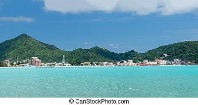 Panorama of Philipsburg Sint Maarten - Panorama of town of...