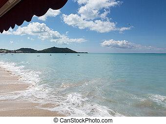 Beach at Grand Case in St Martin Caribbean - View down beach...