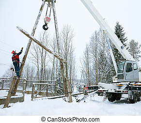 Repair power lines in winter in heavy snowfall
