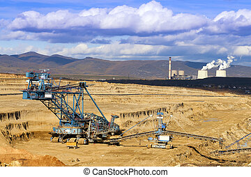 Mining Spatial View of machines. - Opencast mine working on...