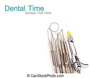 Dental tools and equipment. Over white background
