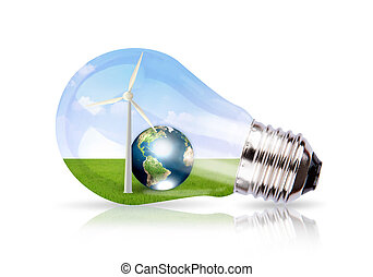 Light bulb with wind turbine and earth inside Elements of...
