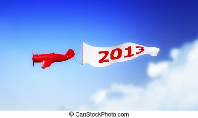 Plane 2013 in Clouds (Loop) - Little plane with 2013 number...