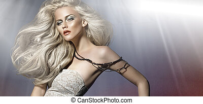 Picture of white hair young woman