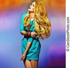tröttsam, blå, blondin, klänning, sensuell