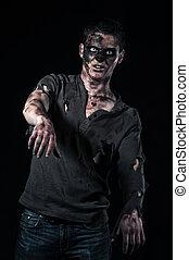 a, zombie, Marrom, camisa, monstro