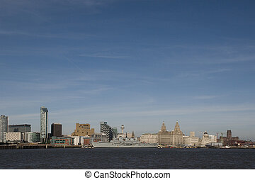 Liverpool Waterfront with the Royal Navy Ship Ark Royal...