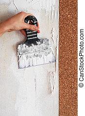 cáscara, secado, pegamento, glueing, papel pintado