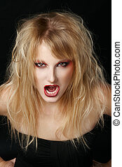 The angry girl in the studio with red lips - The portrait of...