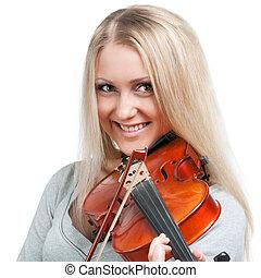 violino, sorrindo, mulher, tocando