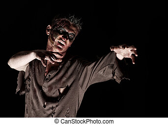 The zombie in brown shirt in the studio - The zombie is...