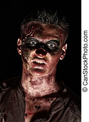 el, enojado, zombi, monstruo, marrón, camisa