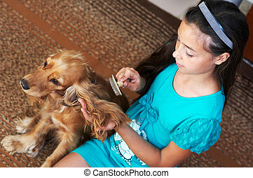 The girl is combing the dog - The girl is combing the brown...