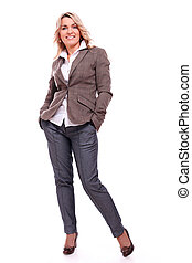 40 years old businesswoman smiling on a white background