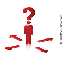 Choices Stick Man - Stick Figure man shown with a question...