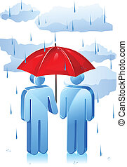 Rainy Day Protection - Two stick figure people with one...