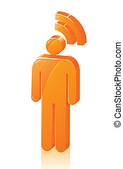 Stick Man RSS Feed - Stick figure with RSS feed icon over...