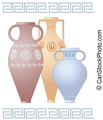 greek urns - an illustration of three decorative greek urns...