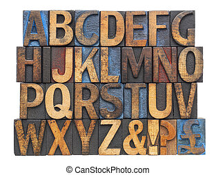 alphabet in antique wood type - English alphabet with...