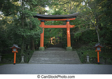 Shrine gate - Precinct of japanese traditional shrine,...