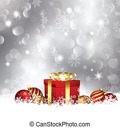 Christmas background - Christmas gift and baubles nestled in...
