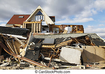 Hurricane Sandy destruction - FAR ROCKAWAY, NY - NOVEMBER 4:...