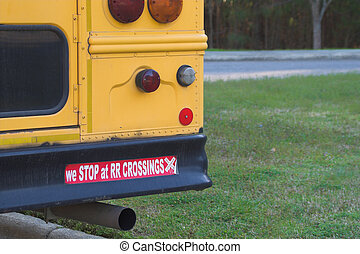 School Bus Safety - Schhol bus bumper sticker - We stop at...
