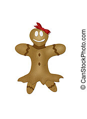 Mulberry paper gingerbread girl on with background.