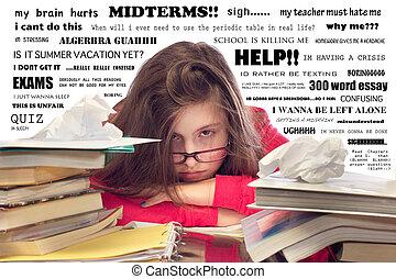 niña, abrumado, deberes