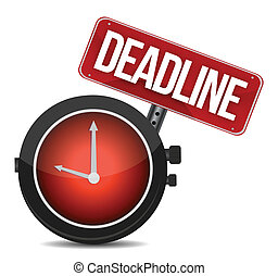deadline watch sign illustration design over white