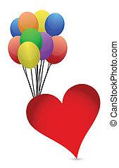 balloons and heart illustration design over white background