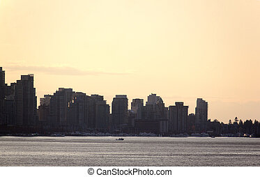 downtown vancouver skyline viewed from across burrard inlet