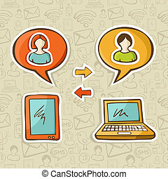 Social media gadgets connecting people - Tablet and notebook...