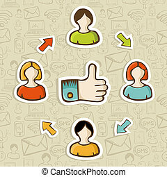 I Like it social media concept - Thumb up friendship social...