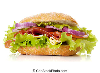 Small sandwich with ham, cheese, tomatoes, red onion and...