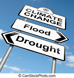 Climate change concept - Illustration depicting a roadsign...