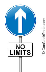No limits. - Illustration depicting a roadsign with a no...
