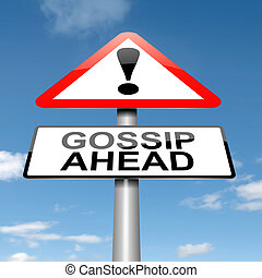 Gossip concept - Illustration depicting a roadsign with a...